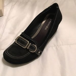 Black slip on wedge shoes